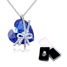 choker Free Box Blue Heart Crystal Pendant Necklaces rosette Austria Crystal Necklace For Women Mother's Day Bride Jewelry(China)