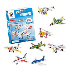 180PCS blocks Children 3d puzzle paper airplane model Fighter F-16 Fighting Falcon Nieuport 17 airbus diy assembled plane toys