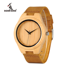 BOBO BIRD WF18 Miyota 2035 Movement Wristwatches Genuine Leather Classic Bamboo Wooden Watches for Men Women Wood Gifts Box
