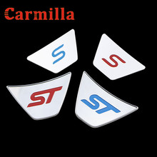 Carmilla Car ST S Logo Steering Wheel Sequins Sticker ABS Chrome Cover Sticker for Ford Fiesta Ecosport 2009 - 2016 Auto Acc.(China)