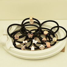 Sale! Black Hair Rope Rubber Bands Acrylic Beads Decorated Girl Hair Accessories Elastic bands Hair Ring 10pcs Randomly 1752HR(China)