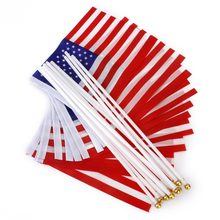 New Hot Sale American USA United Kingdom UK Hand Waving Flag Mini Banner with Plastic poles 12Pcs Free Shipping(China)