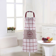 100% cotton red lattice apron sleeveless work clothes simple home hotel service women aprons hot sale(China)