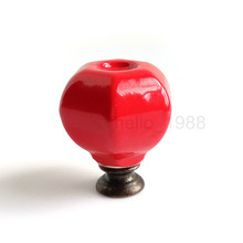 Cute Hexagon Red Cabinet Knob Cupboard Closet Furniture Drawer Knob Handle Pull