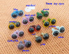 9mm plastic safety toy eyes & white washers for DIY plush animal doll materials--40pcs(China)