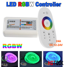 Popular wall mounted LED controller Touch pannel RGBW controller 12V -24V 24A Wireless 2.4G Remote 216 Watts for LED RGB Strip