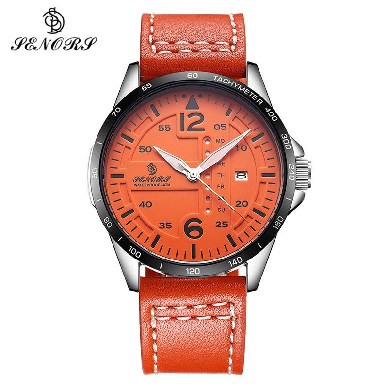 SENORS Sport Quartz Watches Men Clock Top Brand Leather Bracelet Japan Movement Man Wristwatch Male Watch Relogio Masculino<br>