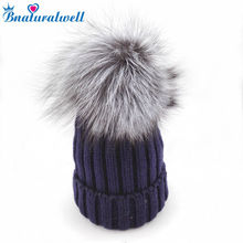 Bnaturalwell Kids Fox Fur Pompom Hat Baby Winter Warm Knitted Hat Child Slouchy beanies Boys Girls Real Large Fox fur Cap H027S(China)
