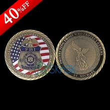 1pcs/lot New commemorative coin ST. Michael souvenir antique bronzed plated US FBI special agent challenge coins collectibles(China)