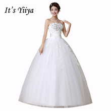 Buy It's Yiiya Sequins Strapless Princess White Wedding Dresses Cheap Floor Length Cheap Bride Ball Gowns Vestidos De Novia HS162 for $34.20 in AliExpress store
