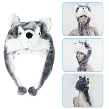 Cartoon Animal style Hood Wolf Hat Hoods Beanies Cute Fluffy kids Caps Soft Warm Scarf Earmuff Plush Huskies Hats 2016 Hot Sale