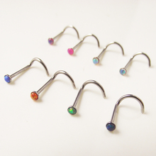 2 Pieces  0.8x8x2mm free shipping Mix Color Opal Stone nostril nose stud Ring nose rings body piercing jewelry