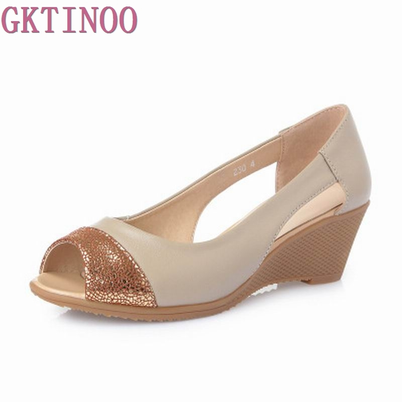 2017 Summer Women Shoes Woman Genuine Leather Sandals Open Toe Mother Wedges Casual Sandals Women Sandals<br>