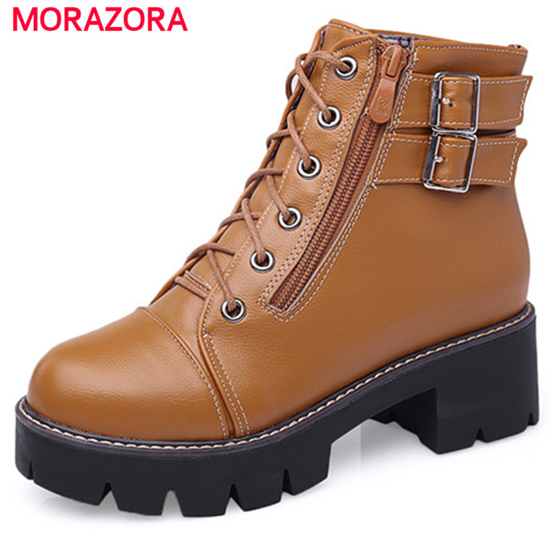 MORAZORA Fashion punk ankle boots PU soft leather autumn winter platform shoes round toe boots female large size 34-43<br>