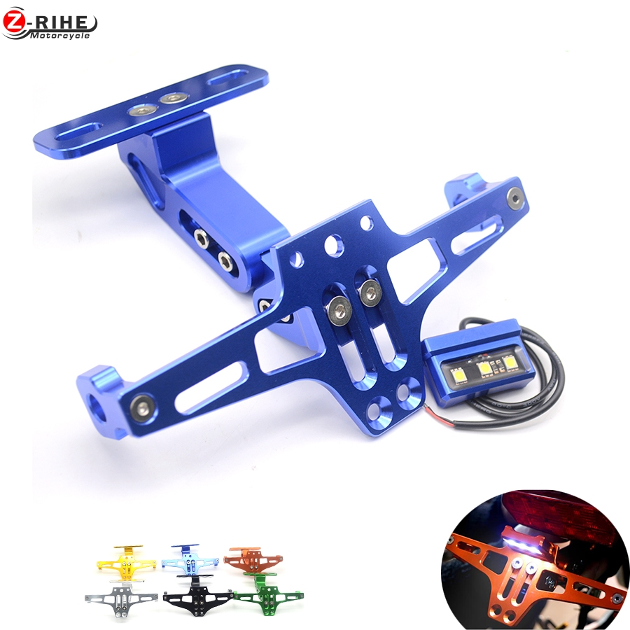 Motorcycle Adjustable Angle Aluminum License Number Plate Frame Holder Bracket For YAMAHA YZF R1 R3 R6 R15 R25 FZ6 MT-07 MT 07