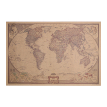 Vintage World Map Travel Home Decoration Detailed Antique Poster Wall Sticker Retro Paper World Map
