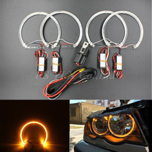 2017 NEW 4*131mm LED Angel Eyes for BMW E46 E39 E38 E36 Projector SMD LED halo rings kit Yellow CREES LED angel eyes for bmw e46