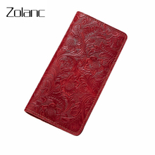 Fashion Genuine Leather Wallet Women Passport Cover Multi-Function Cell Phone Case Retro Flower Travel Passport Soft ID Holders(China)