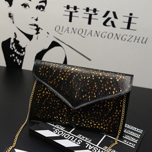 Hot New Hollow chains envelope bag neon color cutout bag pu candy color day clutch women's messenger bags Fast Shipping