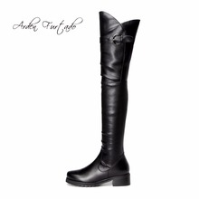 Arden Furtado 2017 spring autumn winter flat boots for woman over the knee thigh high genuine leather round toe boots long shoes(China)