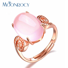 MOONROCY Free Shipping Rose Gold Color Cute Sweet OL Ross Quartz Crystal Pink Opal Rings Jewelry Wholesale for Women Girls