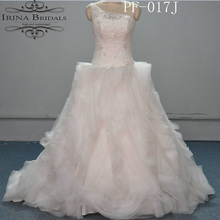 dress bride One Shoulder Lace Appliqued Tiered Organza Puffy Ball Gown Wedding Dress