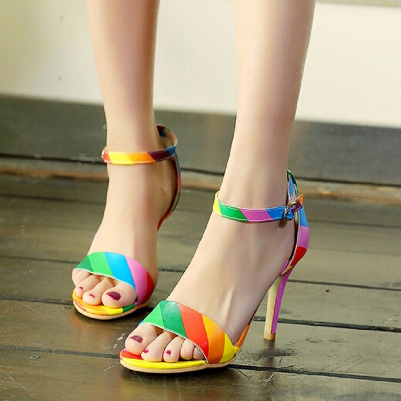 Rainbow Color Open Toe Gladiator sSandals Woman Brand Elegant High Heel Sandalias Mujer Black Sexy Stiletto/Party Wedding Shoes<br>