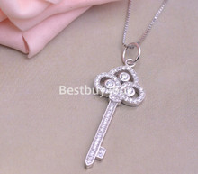 Brand new 925 sterling silver key pendant with Iris female fashion jewelry