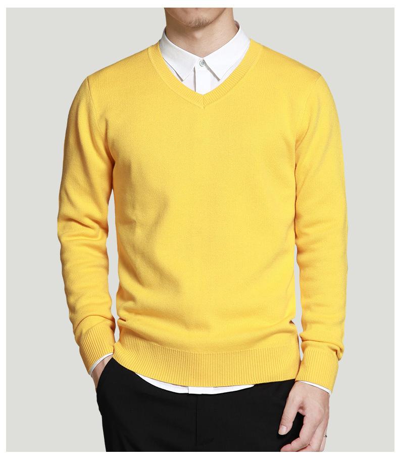 Merino Wool Sweater Pullovers Men V Neck Long Sweater Jumpers Luxury Winter Warm Mercerizing Fleece Male knitwear Autumn Spring-06