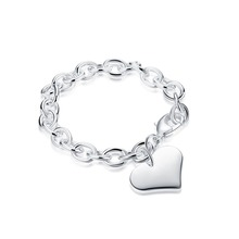 Silver heart pendant charm bracelet fashion jewelry Valentine's Day gift good quality and low price Woman Jewelry H278