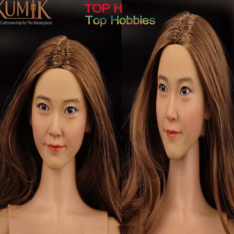 1/6 Scale head Asian Girl 1/6 Soldiers accessories head sculpt carving KUMIK 16-12 Fit 12 Inch Phicen Action Figure HT Toys Doll<br>