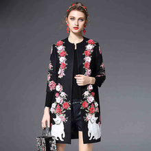 High Quality Women Winter Beading Coat Vintage Style Black Printed Appliques flowers 3D Print Long Coats Overcoat(China)