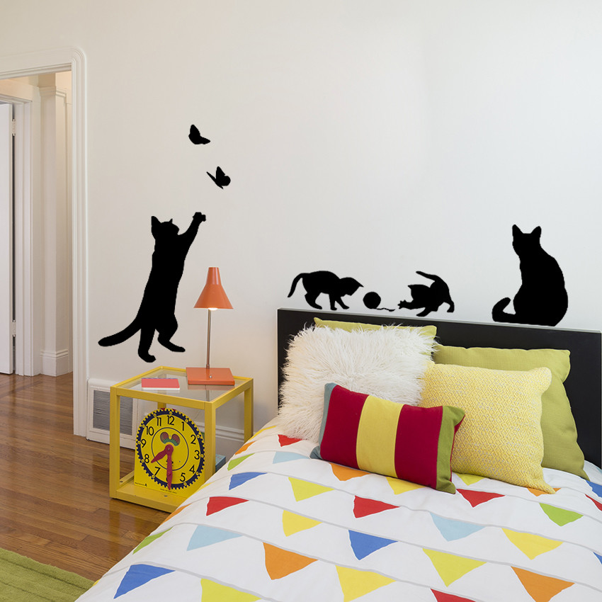 HTB1tYL3NpXXXXb9XFXXq6xXFXXXB - 1 Set/Pack New Arrived Cat play Butterflies Wall Sticker Removable Decoration Decals for Bedroom Kitchen Living Room Walls