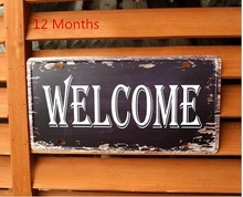"High Quality 100% ""Welcome"" Retro Metal painting Plaque Vintage Bar Cafe Decor 15x30CM Free shipping"