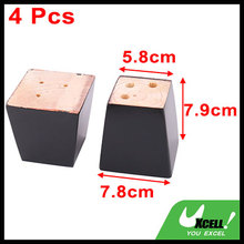 Hotel Wooden Furniture Cabinet Chair Couch Sofa Legs Feet Replacement Black 4pcs(China)