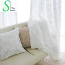 Slow Soul White Rose Korean 3d Curtains Embroidered Floral Tulle Cortinas Sheer For Living Room Baby Kitchen Bedroom Curtain