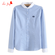 Casual 100% Rea Photo Ladies Work Wears Shirt Embroidery Crystal Chic Female Patchwork Blouse Blue White Block Color Blouses(China)