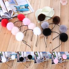 2017 New Colorful Headband Cute Sweet Warm Furry Ears Women Girl Hair Accessories