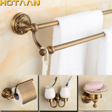 2017 Free shipping,solid brass Bathroom Accessories Set,Robe hook,Paper Holder,Towel Bar,Soap basket,bathroom sets,HT-812600-T