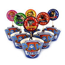 PAW Patrol Cupcake Wrappers+Banner 24Pcs/lot Dog Pawed Patrolling Wrapper Paper Board Birthday Party Decoration Deco Kid Supplie