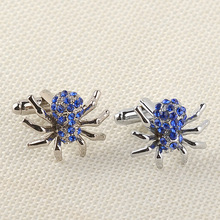Newest Fashion silver Blue Crystal Rhinestone Spider Animal Cufflinks Men Male French Shirt Cuff Links For Men's Jewelry Gift