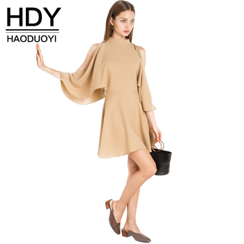 HDY Haoduoyi 2017 Fashion Pleated Mini Dress Women Batwing Sleeve Female A-line Dress Brief Style Solid O-neck Bodycon Dress