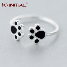 Kinitial 1Pcs 925 Silver Hot Double Dog Paw Rings New Fashion Animal Cats Paws Ring Wedding Anniversary Accessory Jewelry Gift(China)