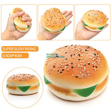 High Quality 10CM Squishy Slow Rising Jumbo Hamburger Bread Kawaii Cute Phone Strap Pendant Soft Cake Bun Scented Fun Kid Toys