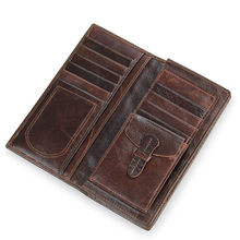 Famous Brand Men's Genuine Leather Wallet Vintage Crazy Horse Leather Purse Simple Design Money Bag Card Holder(China)