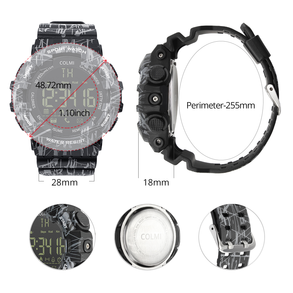 COLMI EX16C Camo Smartwatch 5 ATM Waterproof Activity Tracker Steps Calories Distance Smart Watch Standby 12 Months