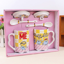 2017 new couple cups milk mug cartoon small yellow people ceramic lovers cup Men,women,students packing color box Mugs