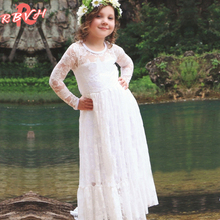 Beauty Lace Flower Girl Wedding Bridal Gown Infant Party Dress Long Children's Girl Costume For Kids Baby Frocks Designs 2017
