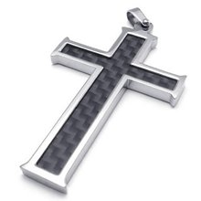 Carbon Fiber Stainless Steel Mens Cross Necklace Pendant, Black Silver, 24 inch Chain(China)