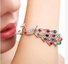 Latest Fashion Peacock Love In The Wrist Elegant Romantic Valentine Colorful Peacock Bracelet Jewelry Factory Direct